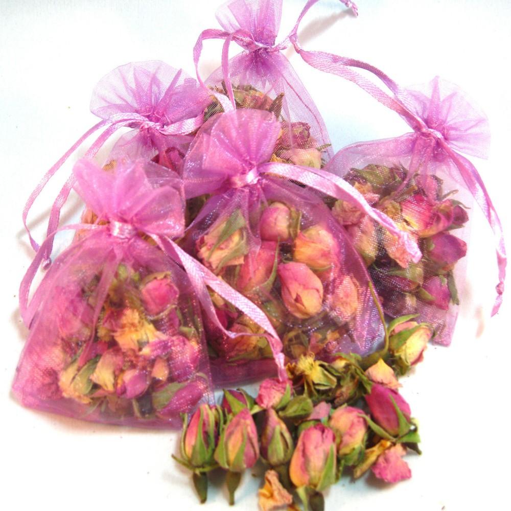 Set of 5 Organza Bags Pink Rose Buds