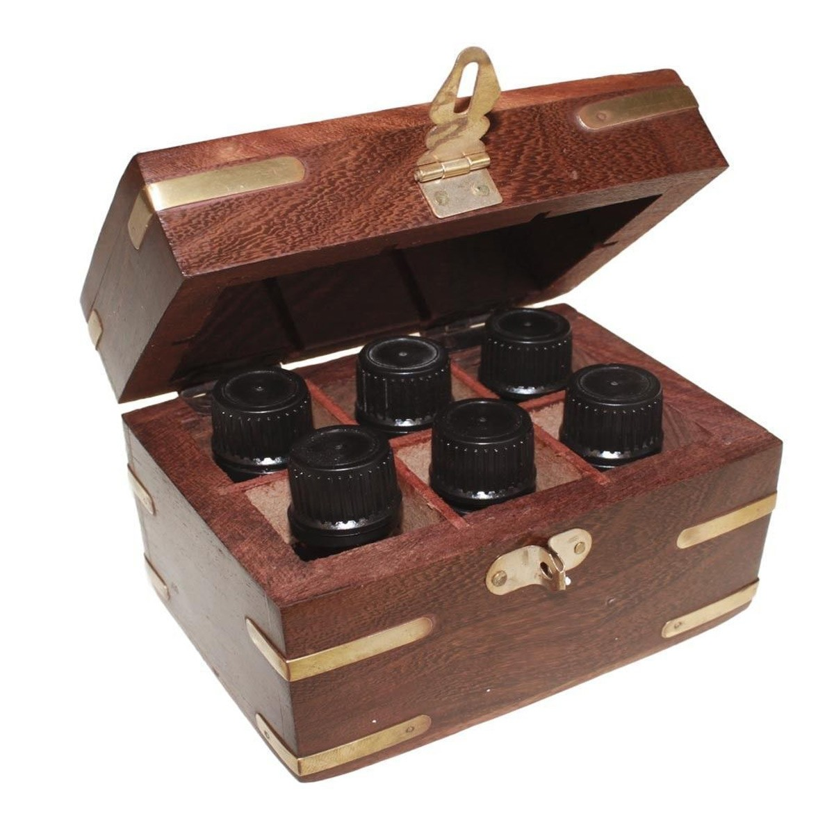 Aromatherapy Set Carved Wooden Box 6 Essential Oils