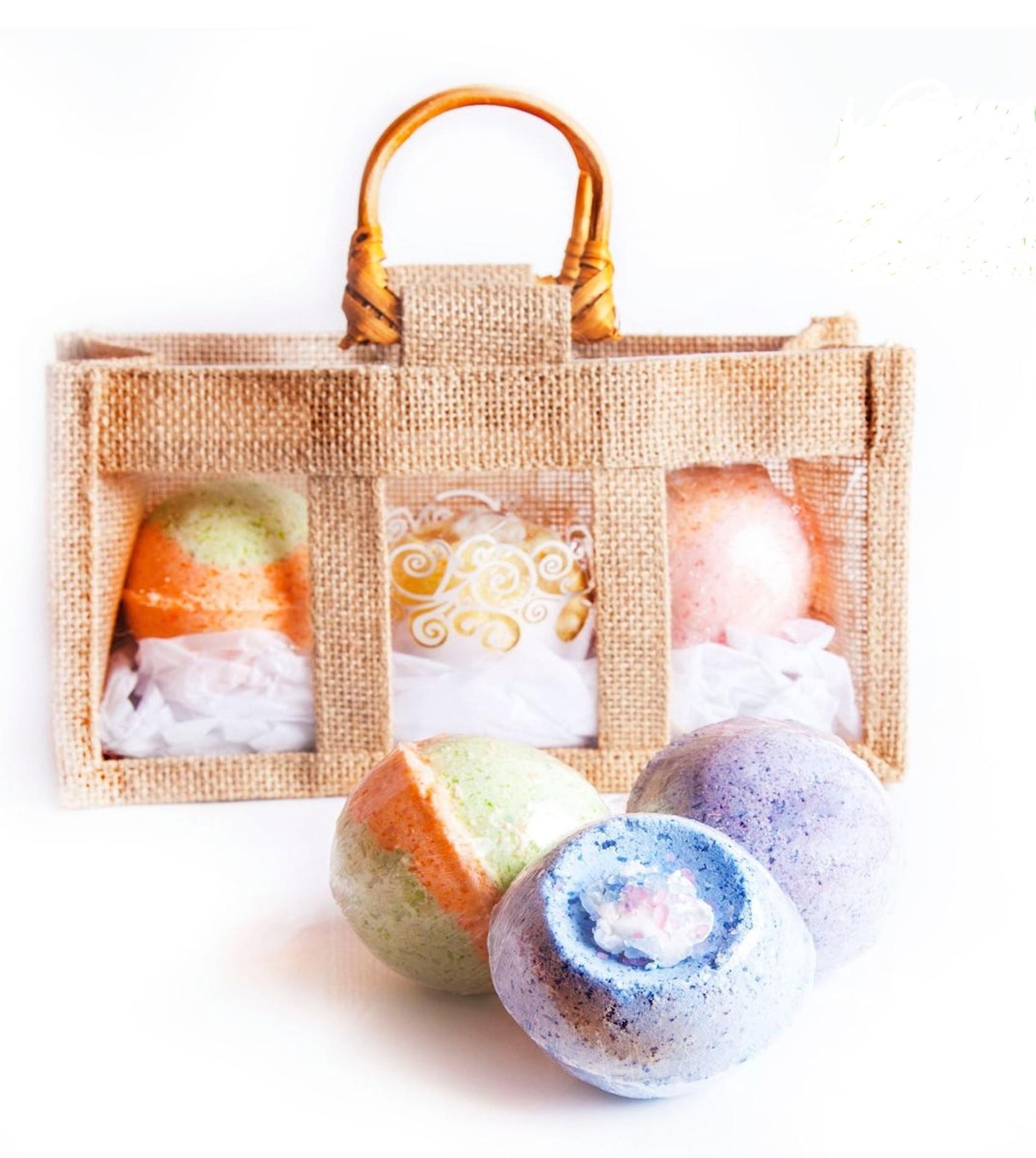 Organic Bath Bombs Jute Bag Set