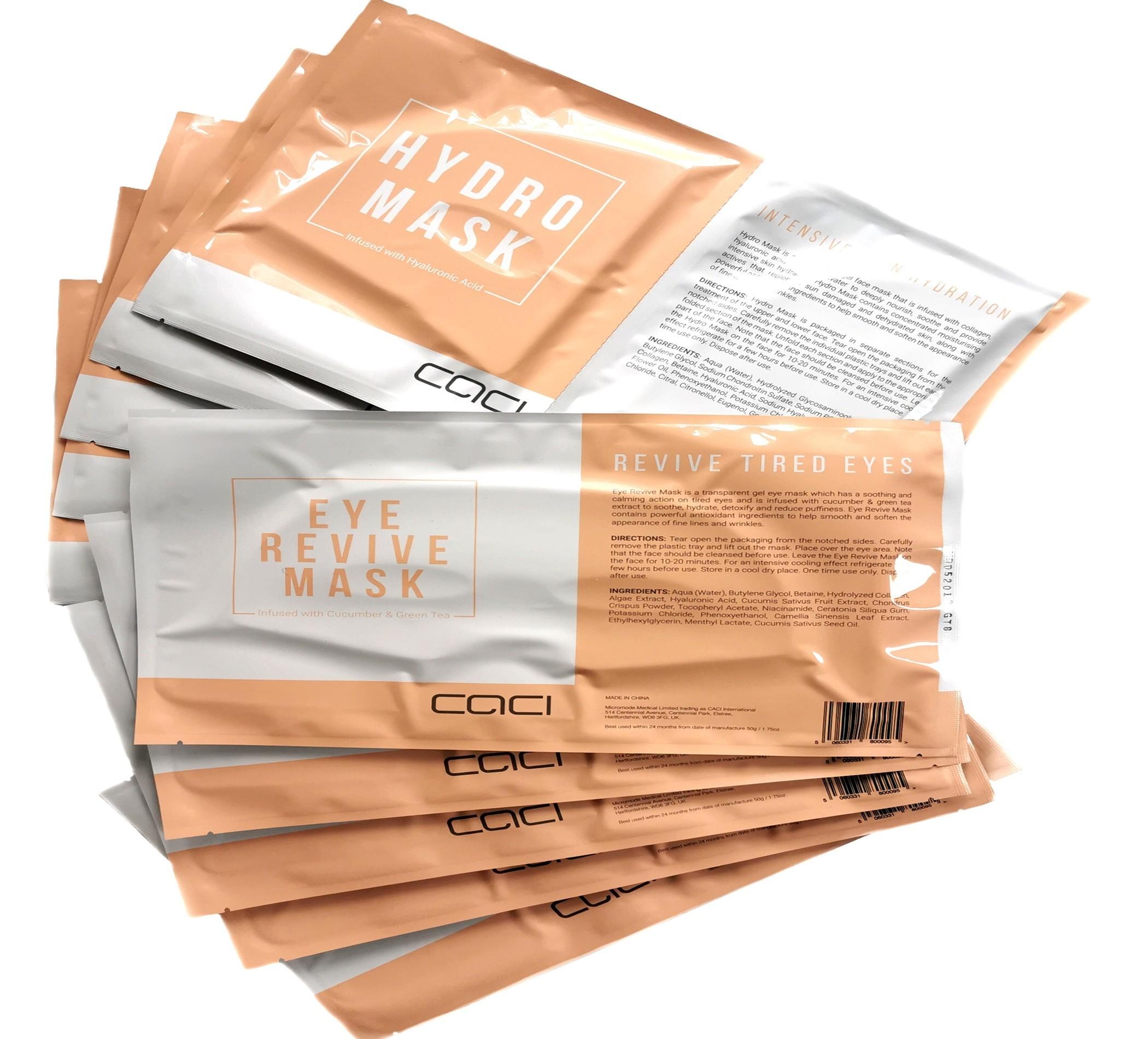 10 X Assorted Caci Hydro Masks & Caci Eye Masks