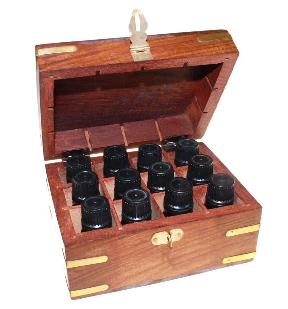 Aromatherapy Set Carved Wooden Box 12 Essential Oils