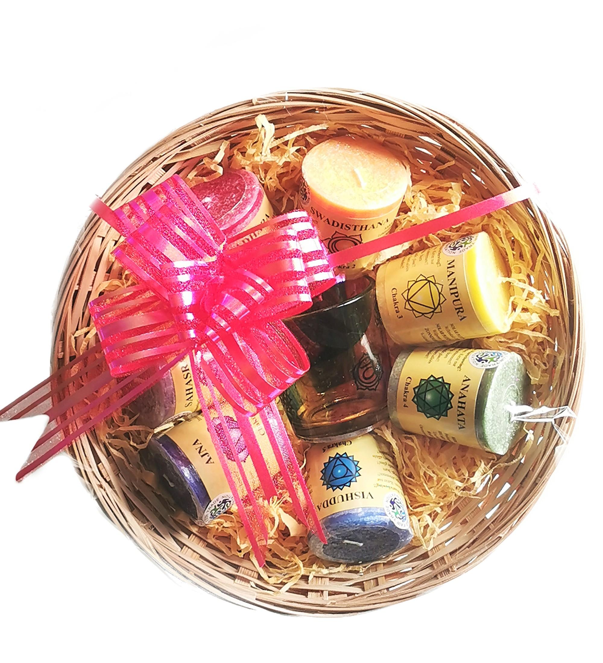 7 Chakra Candle & Glass Jar Basket Set