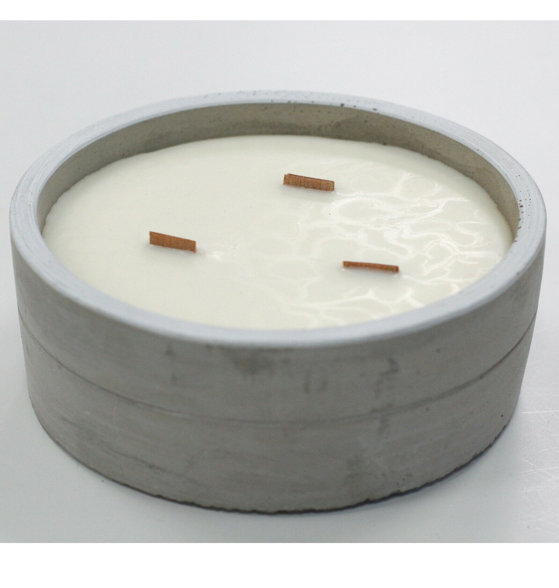 Aromatherapy Wooden Wicks Concrete Round Candle