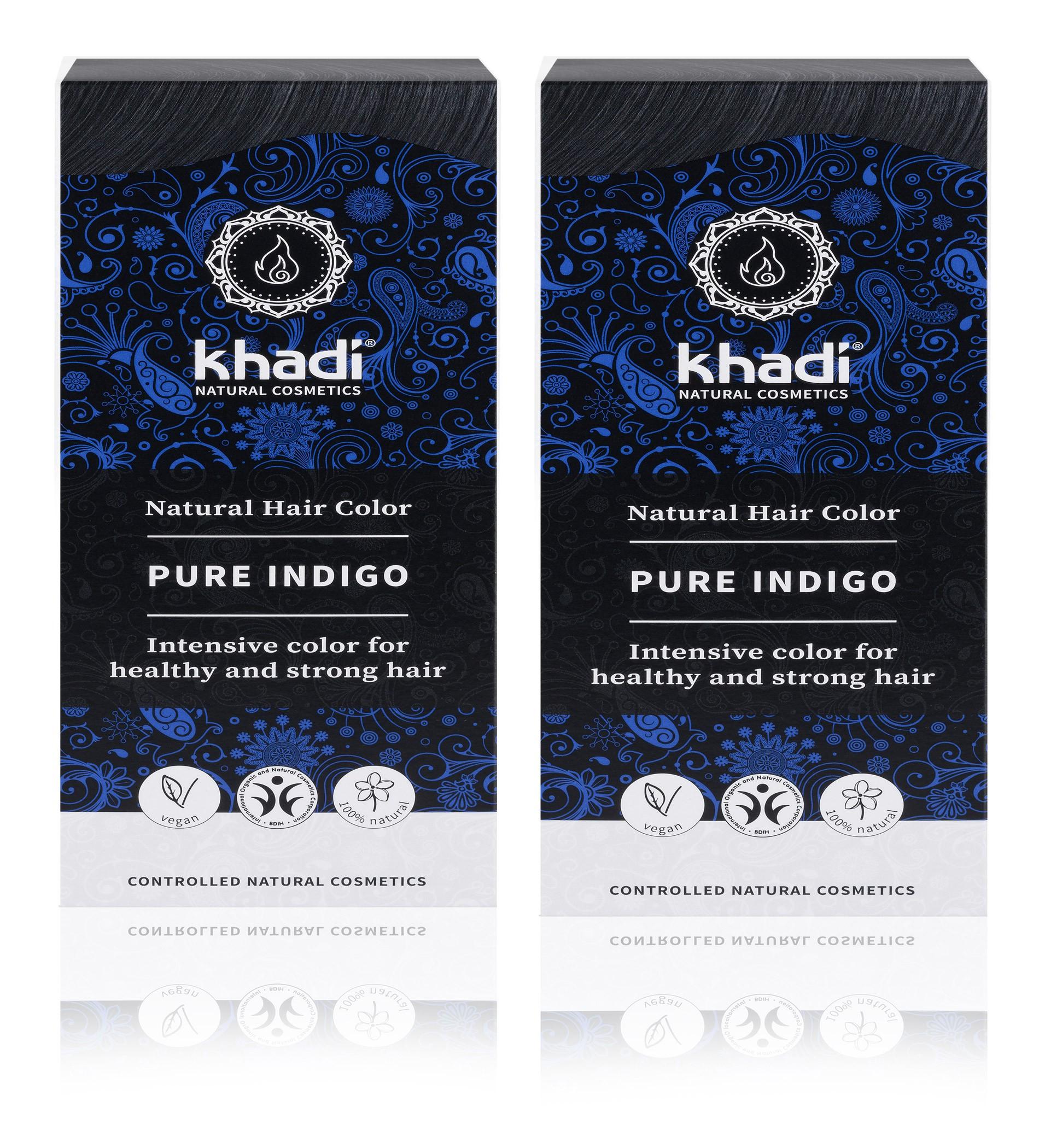2 x Khadi Herbal Hair Colour Pure Indigo Blue Black