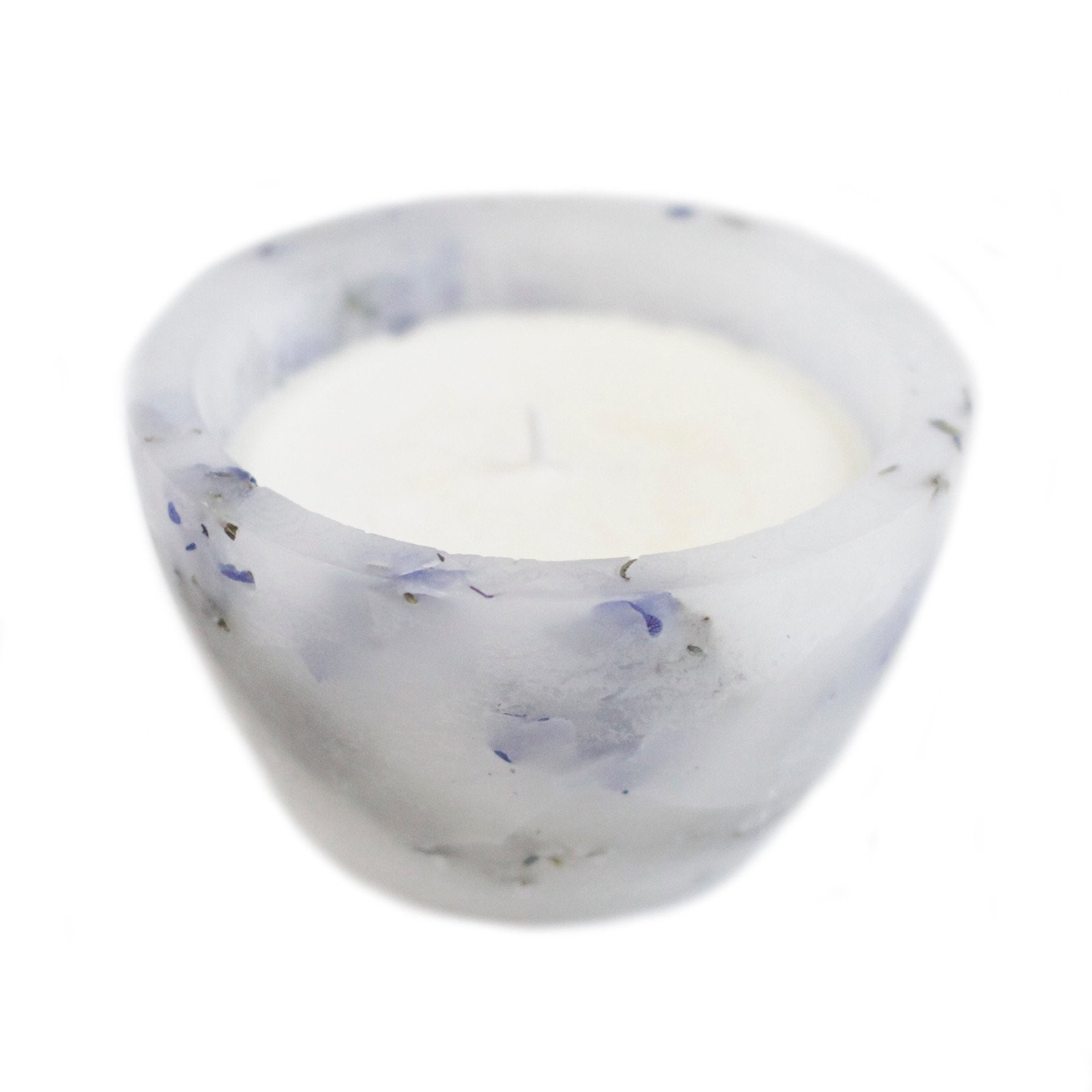 French Lavender Flowers Round Soy Candle