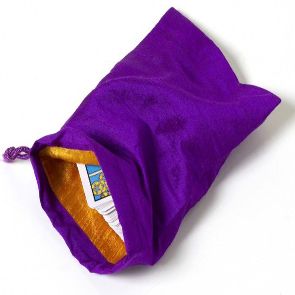 Large Purple 100% Silk Tarot Angel Card Bag