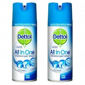 2 x Dettol All In One Disinfectant Spray Crisp Linen 400ml