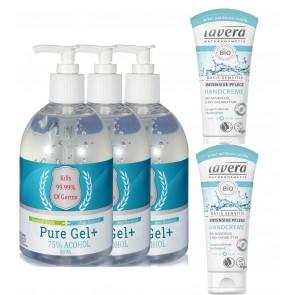 3 x Pure Gel Antibacterial Hand Gel & 2 x Lavera Basis Sensitive Hand Cream