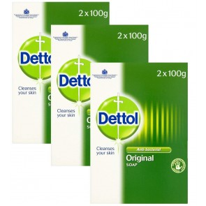 3 x Dettol Twin Pack Anti-Bacterial Soap100g each