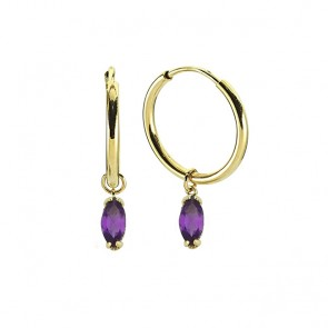 Kissed Amethyst Hoops 14ct Gold