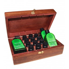 Aromatherapy Set Wooden Box 14 Essential & 3 Base Oils