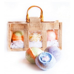 Organic Bath Bombs Jute Bag Set