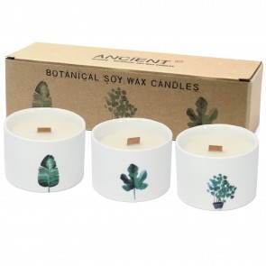 Botanical Wooden Wick Soy Candle Set