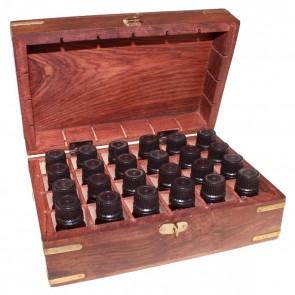 Aromatherapy Set Carved Wooden Box- 24 Essential Oils