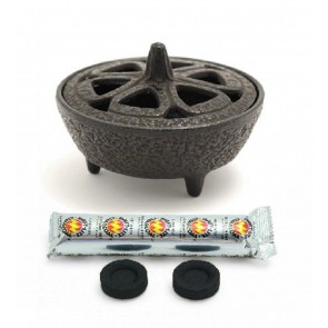 Cast Iron Lotus Incense Bowl & Charcoals