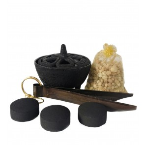 Cast Iron Lotus Incense Bowl Tong & Resin Set