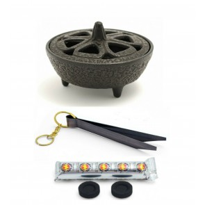 Cast Iron Lotus Incense Bowl Charcoal & Tong Set