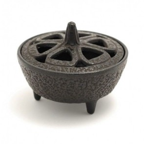 Cast Iron Lotus Shaped Incense Bowl