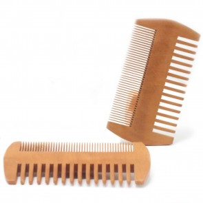 Two Sided Beard Comb Natural Pear Wood