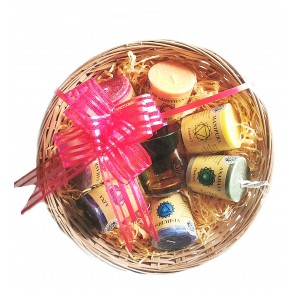 7 Chakra Candle & Glass Jar Basket Set