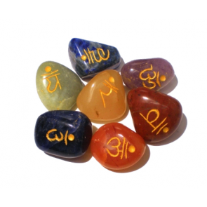 Set of 7 Chakra Engraved Sanskrit Tumbled Stones