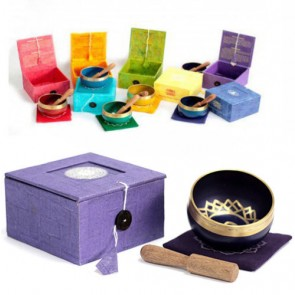 7 x Tibetan Chakra Singing Brass Bowls Gift Set