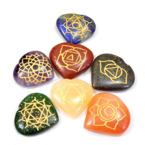7 Chakra Heart Shaped Engraved Stones Set