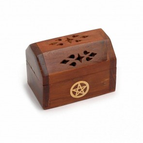 Small Chest Incense Cone Burner With Brass Pentacle