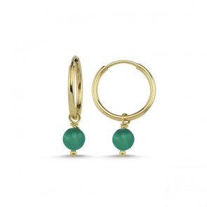 Iconic Green Agate Hoops 14ct Gold