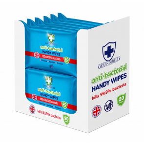 12 x Green Shield Anti Bacterial Handy Wipes 15 x Pack
