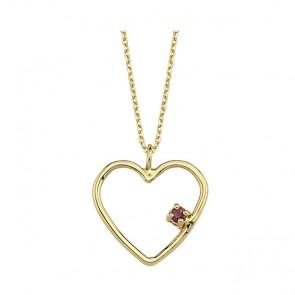 Cupido Rhodolite Heart Necklace 14Ct Gold