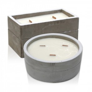 2 x Aromatherapy Wooden Wicks Concrete Candle Set