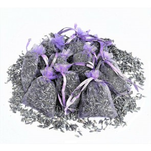 10 Lavender Dried Flower Petals in Organza Bag