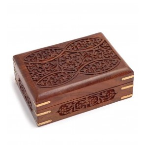 Hand Carved Ornate Wooden Box With Brass Corners