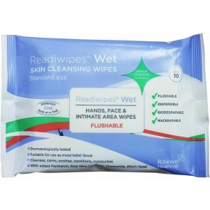 Readiwipes Flushable Hand & Face Wet Wipes 10's