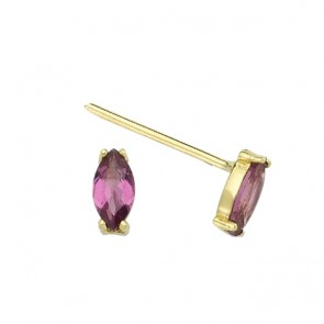 Fierce Rhodolite Ear Studs 14ct Gold