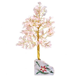 Handmade Gemstone Rose Quartz Chip Tree