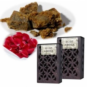Incense Resin Rose & Amber in Wooden Box