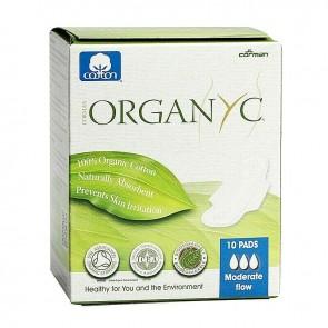 Organyc Sanitary Pads Moderate Flow Box of 10