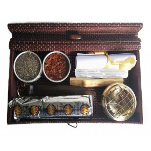 Space Clearing Resin Burning Set in Bamboo Gift Box