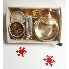 Brass Burner & Resin Tins Gift Set