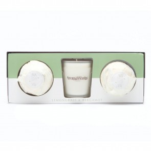 Aromaworks Light Range Lemongrass & Bergamot Candle & Mini AromaBomb Gift Set